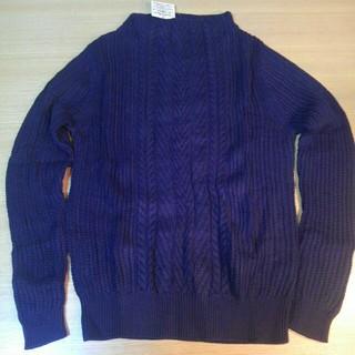 ムジルシリョウヒン(MUJI (無印良品))の無印良品 オーガニックコットン ケーブル柄セーター ネイビー S(ニット/セーター)