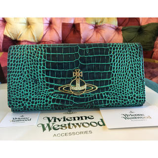 ヴィヴィアンウエストウッド(Vivienne Westwood)の新品★Vivienne Westwood★オーブロゴ 牛革 クロコレザー長財布(財布)