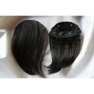 前髪ウイッグ エクステ 黒褐色またはブラウン ライト 1点  (前髪ウィッグ)