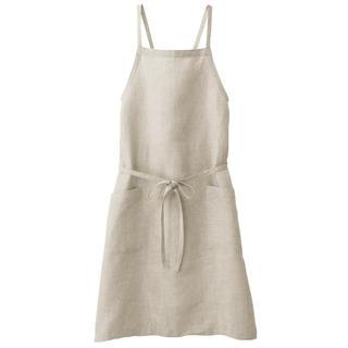 ムジルシリョウヒン(MUJI (無印良品))の麻平織 肩クロスエプロン 生成 (収納/キッチン雑貨)