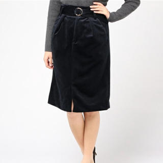 ミスティウーマン(mysty woman)のミスティーウーマン  コーディロイハイウエストタイトスカート(ひざ丈スカート)