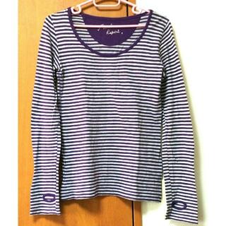 値下げ⬇️パープル×ホワイトボーダーロンT/M(Tシャツ(長袖/七分))