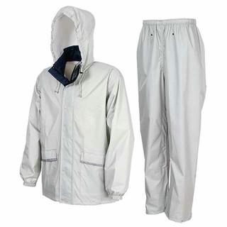 軽量・透湿 レインスーツ Lサイズ シルバー カッパ 上下(レインコート)