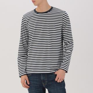 ムジルシリョウヒン(MUJI (無印良品))の無印良品 オーガニックコットン クルーネック ボーダー Tシャツ サイズ S(Tシャツ/カットソー(七分/長袖))