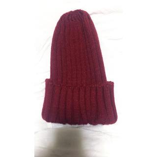 GU - ニット帽 赤 ワインレッド