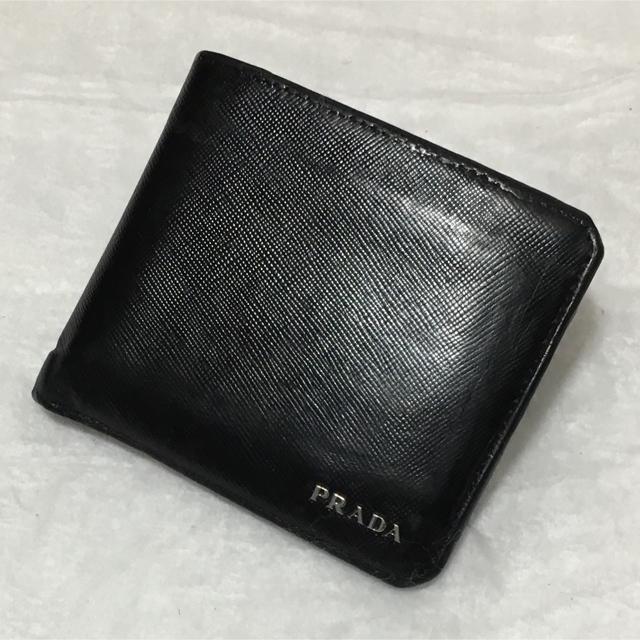 2050a6c6e476 PRADA(プラダ)のPRADA プラダ 二つ折り 財布 サイフ サフィアーノ 型押し ネロ ブラック