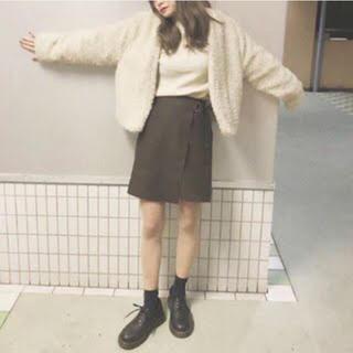 GU スエード 風 ラップスカート ミニ