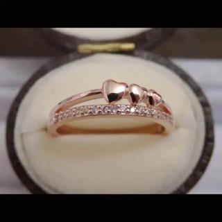 R73■ハートモチーフピンクゴールドczダイヤモンド二連風華奢リング指輪(リング(指輪))
