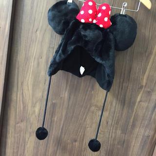 ディズニー(Disney)の【美品】ミニーちゃん 帽子 防寒 秋〜(ニット帽/ビーニー)