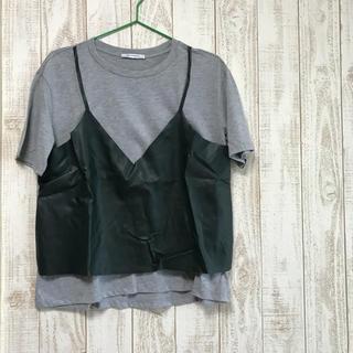 ザラ(ZARA)のZARA* レザービスチェ付き Tシャツ(Tシャツ(半袖/袖なし))
