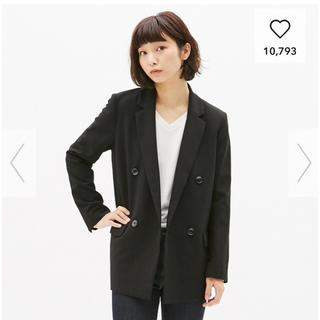 ジーユー(GU)のGU ダブルブレストジャケット S 黒(テーラードジャケット)