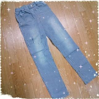 ジーユー(GU)の子供服 男の子 ストラップパンツ 長ズボン ヒッコリーデニム 150cm(パンツ/スパッツ)