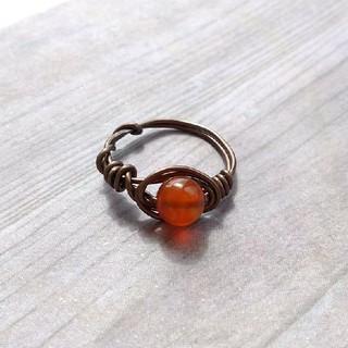 つやつや カーネリアン 指輪 デザインリング パワーストーン 天然石 (リング(指輪))
