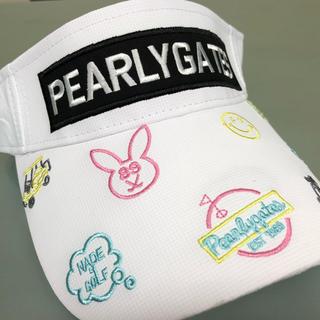 パーリーゲイツ(PEARLY GATES)のNew パーリーゲイツPEARLYGATESサンバイザー 白 ラスト2点です(キャップ)