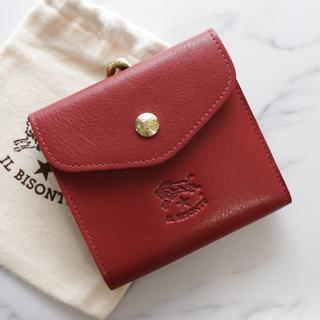 イルビゾンテ(IL BISONTE)の新品 イルビゾンテ 財布 赤 がま口 二つ折り ブランド Wホック Wフェイス(折り財布)
