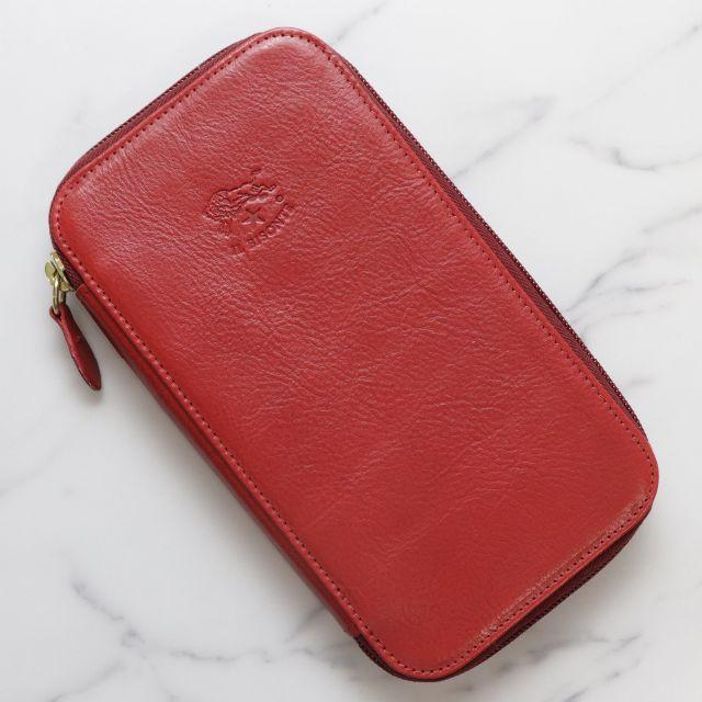 IL BISONTE(イルビゾンテ)の新品 イルビゾンテ 長財布 赤 レザー ラウンド 二つ折り 財布