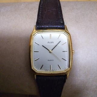 アルバ(ALBA)のALBA(アルバ) 腕時計 V501-5C30 レディース 革ベルト アイボリー(腕時計)