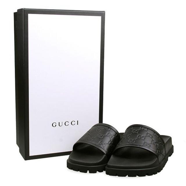 Gucci(グッチ)の【4】GUCCI GGモノグラム柄 ブラック サンダル size 7 メンズの靴/シューズ(サンダル)の商品写真