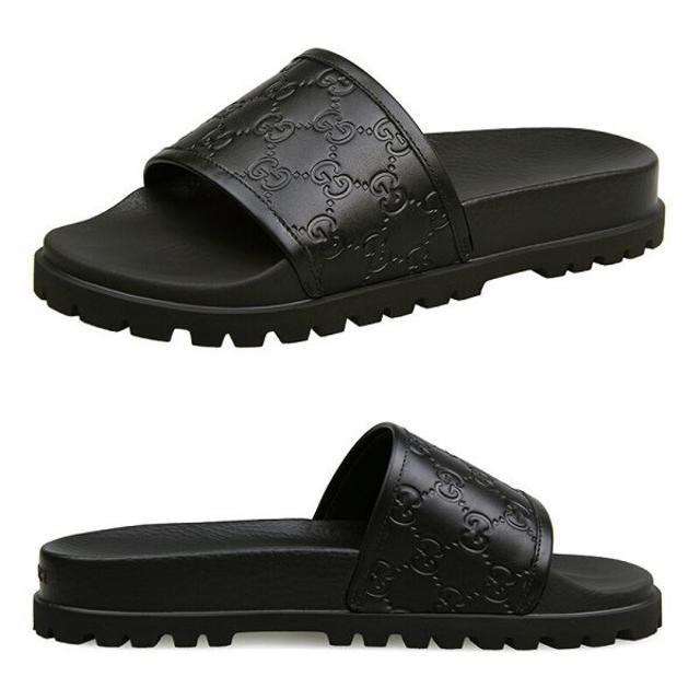 Gucci(グッチ)の【4】GUCCI GGモノグラム柄 ブラック サンダル size 8 メンズの靴/シューズ(サンダル)の商品写真