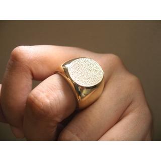 仁尾彫金『楕円のゴールド印台リング2』ハンドメイド167(リング(指輪))