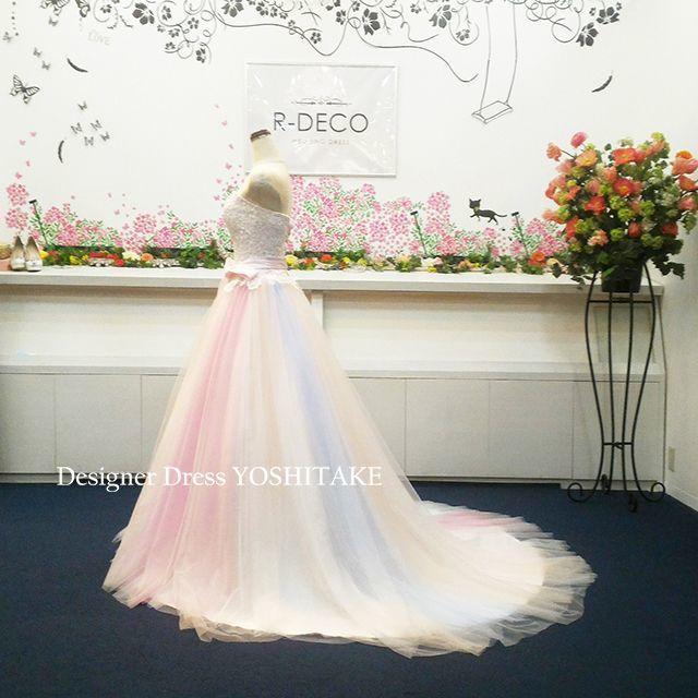 ウエディングドレス(パニエ無料) レインボードレス 披露宴/二次会 レディースのフォーマル/ドレス(ウェディングドレス)の商品写真