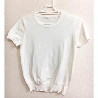 ジーユー(GU)のGU ホワイト カットソー(カットソー(半袖/袖なし))