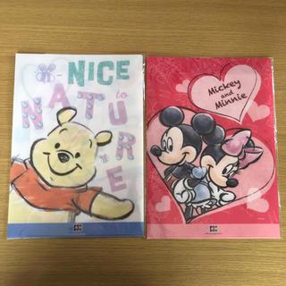ディズニー(Disney)のJCB ディズニー ミッキー&ミニー プーさんダブルポケット クリアファイル(クリアファイル)