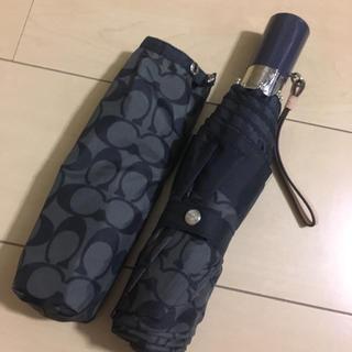 コーチ(COACH)の美品本物コーチCOACHの黑グレーシグネイチャーの折り畳み傘 ワンプッシュ(傘)