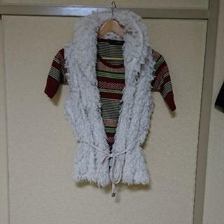 ザラ(ZARA)のLAZY DAISY ホワイト ファーベスト(毛皮/ファーコート)
