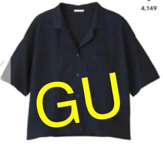 ジーユー(GU)のリネンブレンドオープンカラーシャツ♡半袖#紺色(シャツ/ブラウス(半袖/袖なし))
