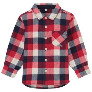 MUJI (無印良品) - 【新品】無印良品 MUJI オーガニックコットンフランネルチェックシャツ 90赤