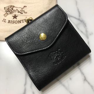イルビゾンテ(IL BISONTE)の新品 イルビゾンテ ガマ口 財布 黒 二つ折り財布 Wホック レザー ブランド(折り財布)