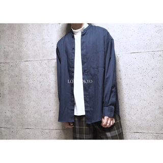 [used]navy stand collar shirt.(シャツ)