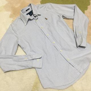 ラルフローレン(Ralph Lauren)のトライプ ホワイト ブルー スリムフィットシャツ (シャツ/ブラウス(長袖/七分))