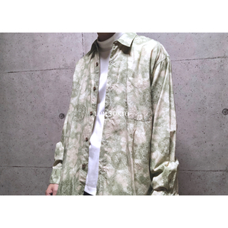 [used]green antique design cotton shirt.(シャツ)