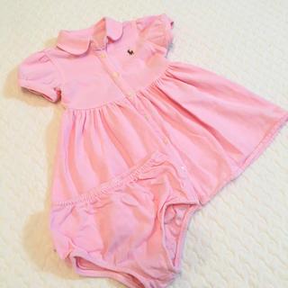 ラルフローレン(Ralph Lauren)の新品未使用 パフスリーブ ポロワンピース カバーパンツ付き ピンク 9M(ワンピース)