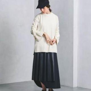 ニアーニッポン(near.nippon)のnear.nippon エコレザーレイヤードデザインプリーツスカート(ロングスカート)