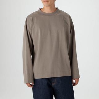綿天竺クルーネック長袖Tシャツ L~XL・グレー