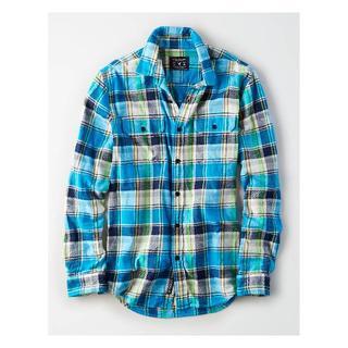 アメリカンイーグル(American Eagle)のAEOプラッドフランネルシャツ S / ブライトブルー 新品(シャツ)