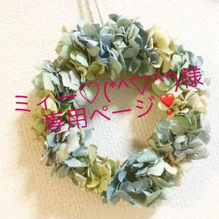 秋色紫陽花ブルーグリーンリース(ドライフラワー)