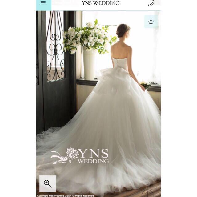 ebfd39f9a5577  YNS Wedding ウェディングドレス バックリボン パニエ付 レディースのフォーマル ドレス