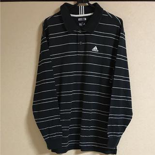 アディダス(adidas)の●アディダス ボーダー 長袖 シャツ    Mサイズ メンズ    ブラック(Tシャツ/カットソー(七分/長袖))