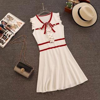 ワンピース ミニワンピ ノースリーブ 白 紺 ドレス パーティ フリル ゴールド(ミニワンピース)