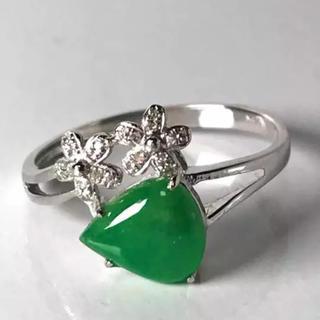 緑色 ヒスイ 無樹脂充填 無着色 k18リング 1(リング(指輪))