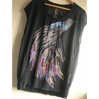 クワクワ(quoi? quoi?)のquoi? quoi? 鳥柄 黒 ビックTシャツ チュニック(Tシャツ(半袖/袖なし))
