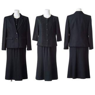 『新品』15号【ブラックフォーマル】(大きいサイズ)喪服礼服スーツ3点セット(礼服/喪服)