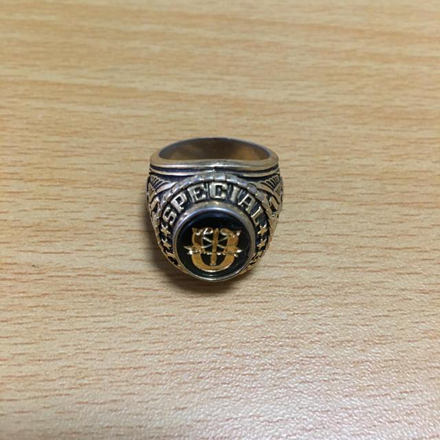 US NAVY ミリタリー カレッジリング グリーン メンズのアクセサリー(リング(指輪))の商品写真