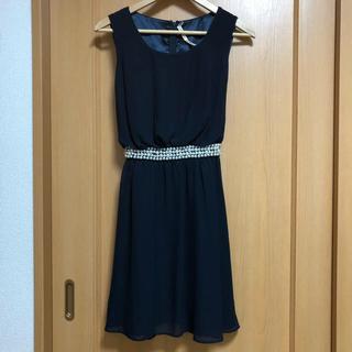 シマムラ(しまむら)の結婚式 ドレス ネイビー ビジュー マタニティ L(ミディアムドレス)