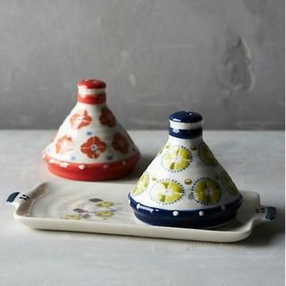 アンソロポロジー(Anthropologie)のソルト&ペッパー入れ 北欧デザイン 陶器 トレイ付き セット 輸入品(テーブル用品)