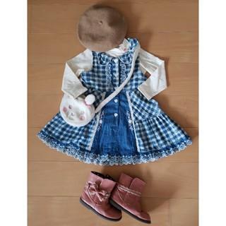 スーリー(Souris)の100㎝美品スーリー2点セット♪リボン襟ギンガムデニムワンピ+お花刺繍ハイネック(ワンピース)